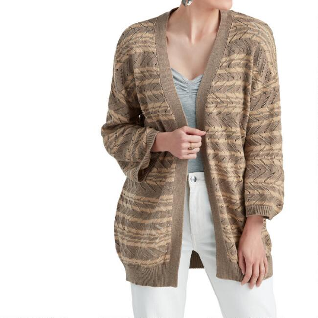 Tan And Ivory Woven Stripe Ali Sweater
