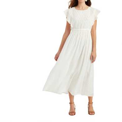 Ivory Diamond Pleated Ruffle Christelle Dress