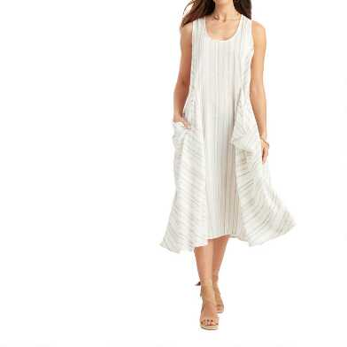 White and Gray Mixed Stripe Tulum Dress