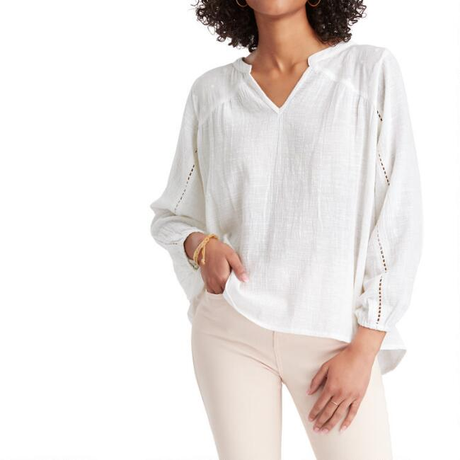 White Textured Bree Top