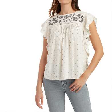 White and Blue Dobby Dot Embroidered Ana Top