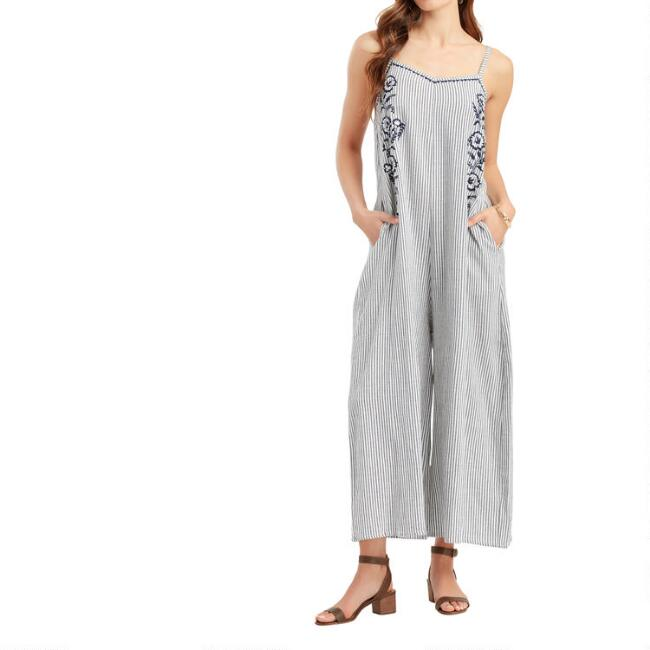 Blue and White Stripe Embroidered Caila Jumpsuit