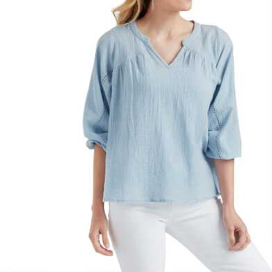 Dusty Blue Textured Bree Top