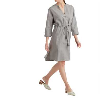 Gray Linen Blend Tie Waist Jane Dress