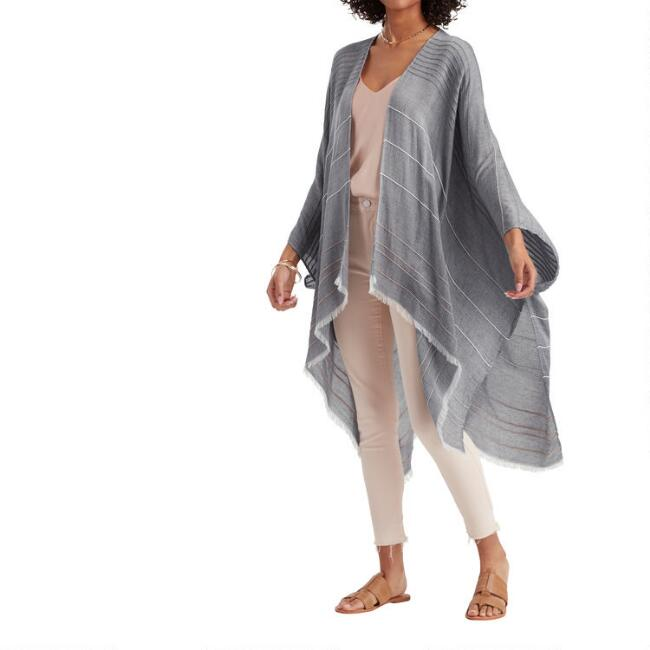 Tan Textured Stripe Shayla Wrap