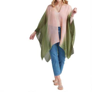 Peach And Green Ombre Lightweight Pleated Wrap