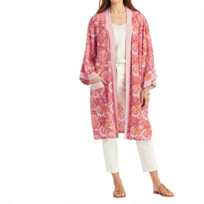 Orange, Pink And Navy Floral Blooms Duster Kimono
