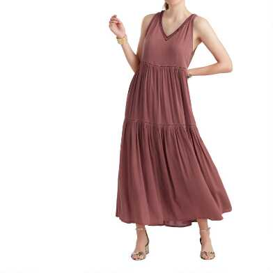 Dusty Rose Embroidered Tiered Sybil Dress