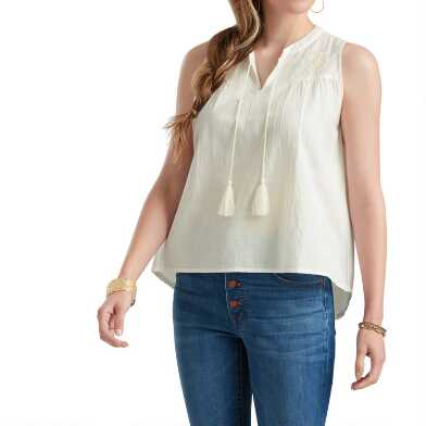 White Linen Blend Embroidered Cara Top
