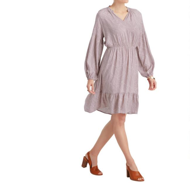 Lavender and White Abstract Haze Dress