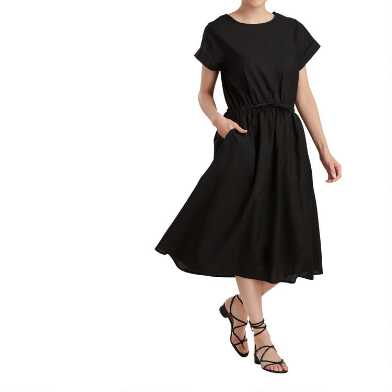 Black Linen Blend Tie Waist Tara Dress
