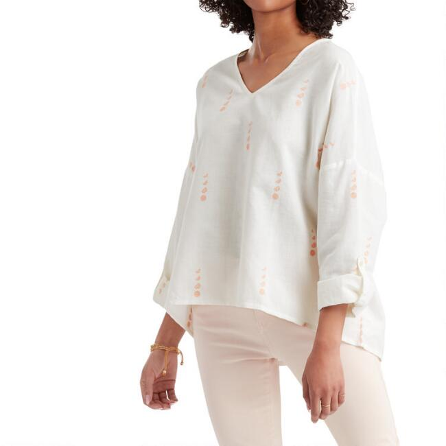 White And Peach Linen Blend Embroidered Moon Phases Top
