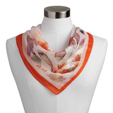 Square White Multicolor Watercolor Floral Silk Scarf