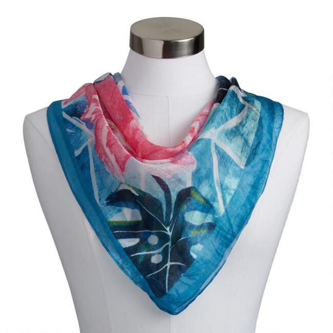 Square Blue And Pink Watercolor Floral Silk Scarf