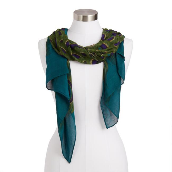 Square Green, Purple And Blue Peacock Feather Scarf
