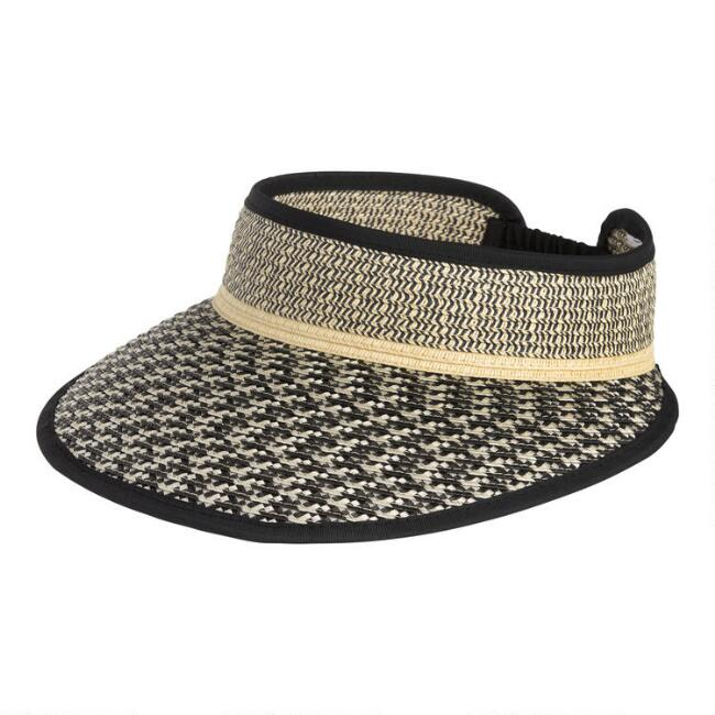 Black And White Woven Straw Visor