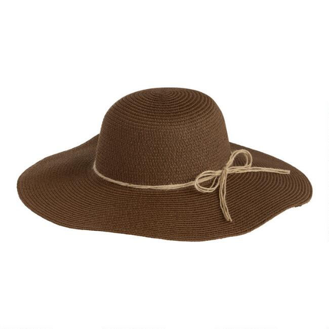 Brown Straw Floppy Sun Hat With Jute Trim