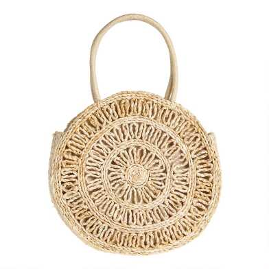 Round Natural Straw Open Weave Tote Bag