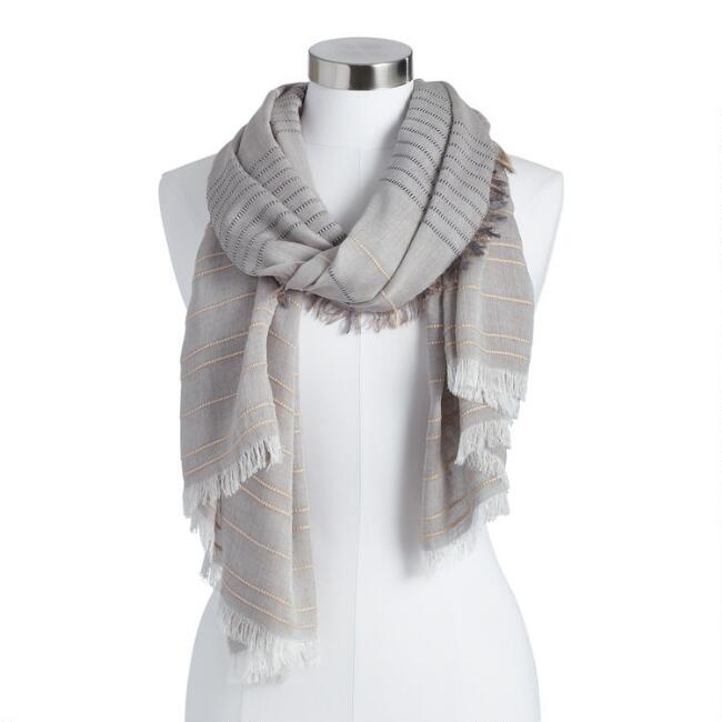 Gray Overstitch Textured Stripe Scarf