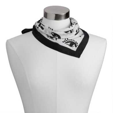 Square Black And White Evil Eye Silk Scarf