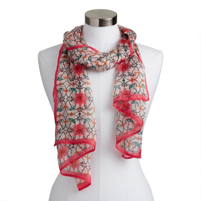 Multicolor Abstract Floral Silk Kaira Scarf
