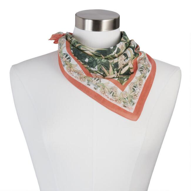 Square Green and Peach Jungle Silk Blend Scarf