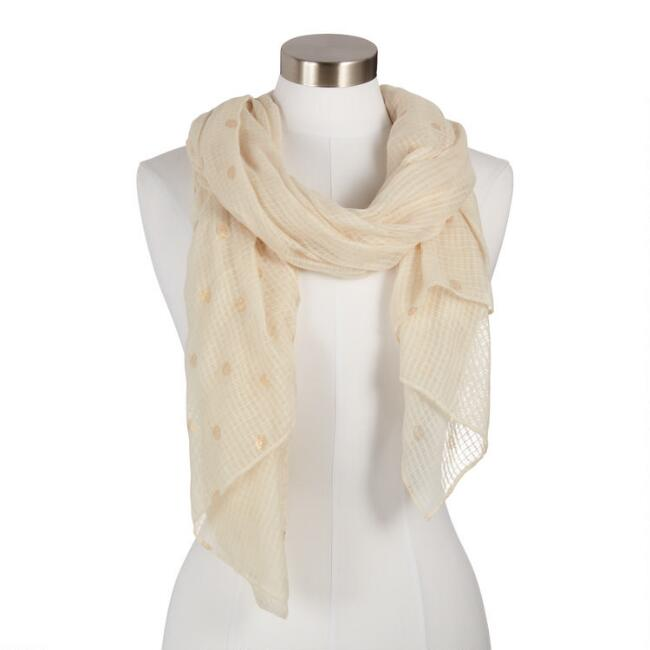White and Gold Leaf Textured Georgia Scarf