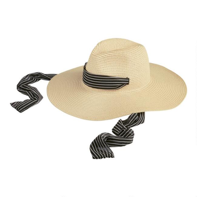 Natural Western Rancher Hat With Removable Scarf Trim