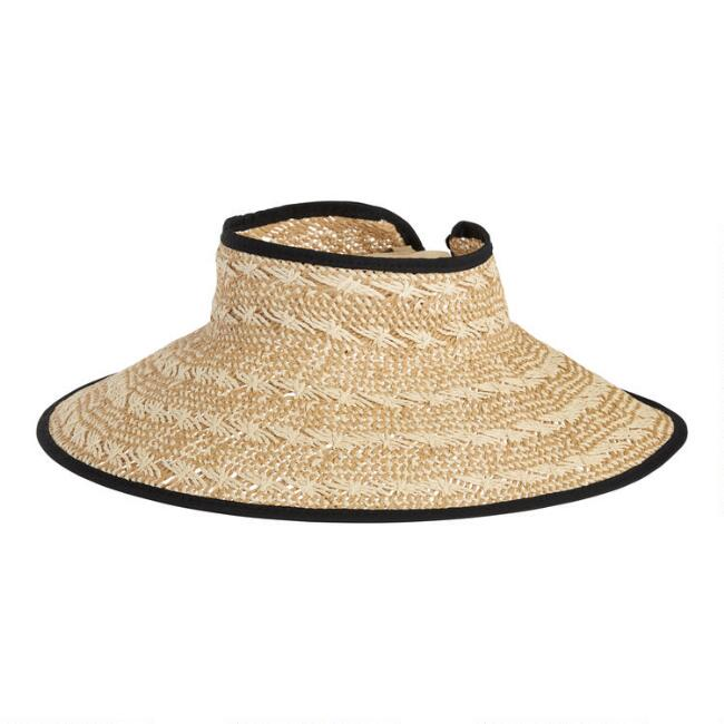 Natural, White and Black Woven Straw Visor