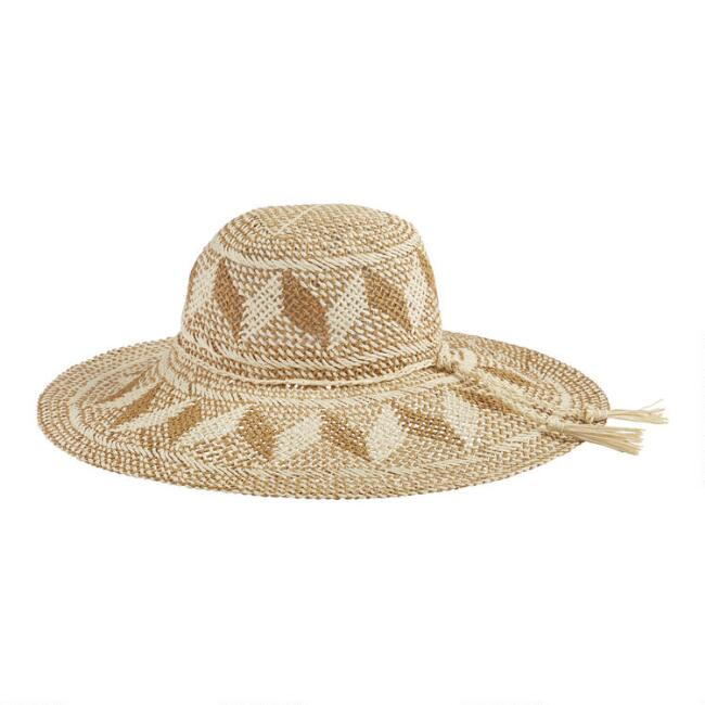Tobacco and Tan Straw Geo Megan Sun Hat