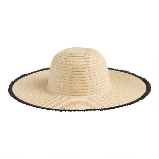 Natural Straw and Black Trim Sun Hat