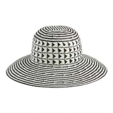 Black and Natural Straw Geometric Sun Hat