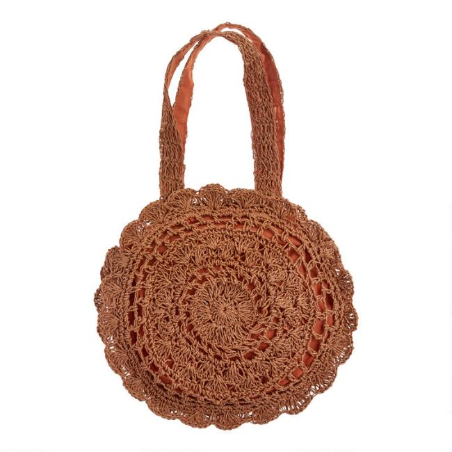 Round Coconut Brown Straw Tote Bag