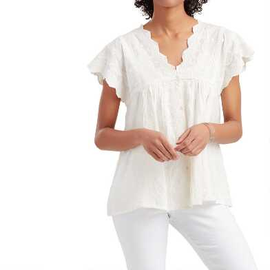 Ivory Embroidered Lace Clara Top