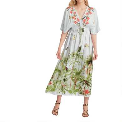 Multicolor Jungle Embroidered Mira Kaftan Dress