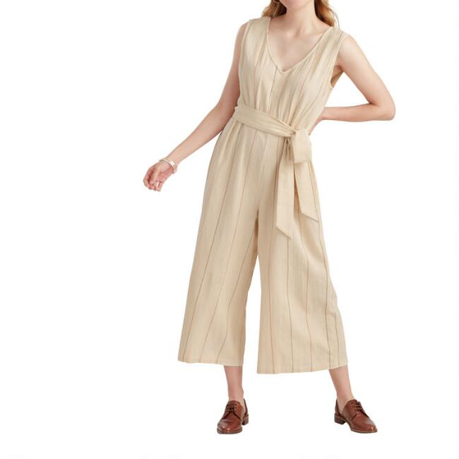 Oatmeal, Terracotta and Olive Striped Mojave Jumpsuit