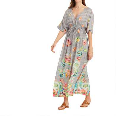 Gray Multicolor Watercolor Floral Mira Kaftan Dress