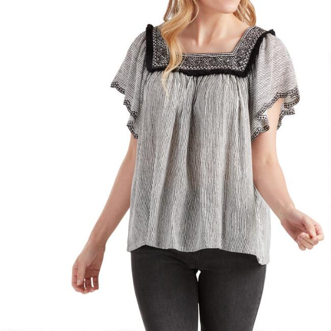 Black And White Stripe Embroidered Flutter Sleeve Top
