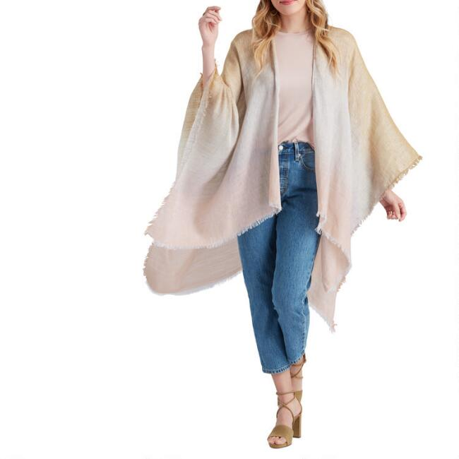 Yellow, Gray and Peach Ombre Linen Blend Sunset Wrap