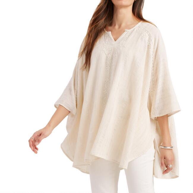 Ivory Oversized Floral Chikankari Embroidered Tunic