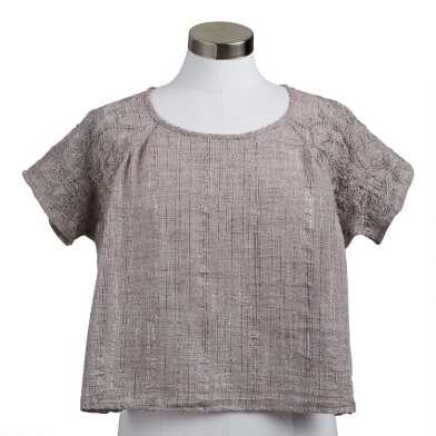 Gray Chikankari Embroidered Swing Top