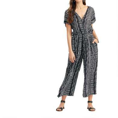 Black And White Geometric Wide Leg Jumpsuit With Pockets