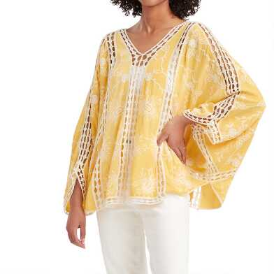 Yellow And White Embroidered Open Lace Trina Top