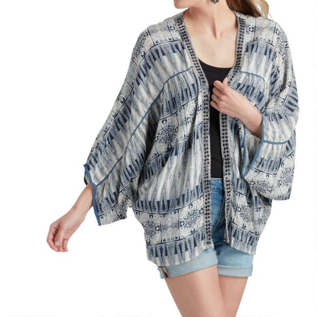 Ivory and Navy Geometric Ikat Olivia Kimono Jacket