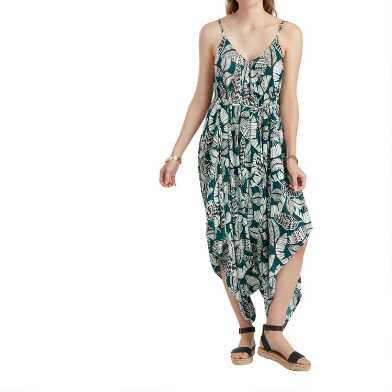 Teal, Black and White Tropical Leaf Jumpsuit With Pockets