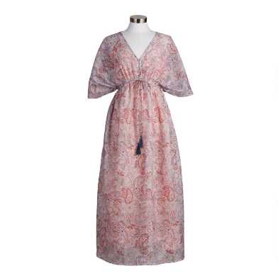 Muted Charcoal And Dusty Rose Paisley Mira Kaftan Dress