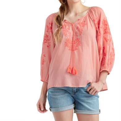 Coral Floral Embroidered Sonya Top