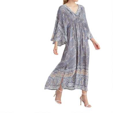 Dusty Blue Paisley Shelby Kaftan Dress