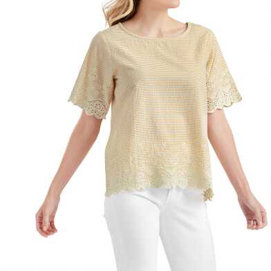 Yellow And White Stripe And Lace Trim Joyce Top