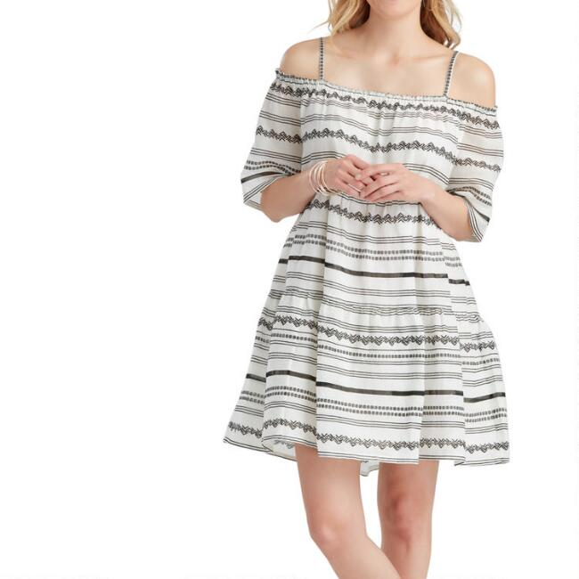 White and Black Geometric Stripe Embroidered Dress